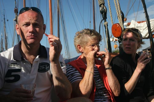Enjoying on deck during weerribben and hanseatic route Netherlands while eating sandwiches
