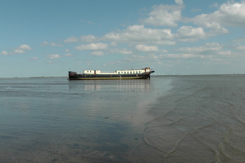 Boat-bike-tour North-Netherlands Wadden Islands spectacular beaching on the sea bed